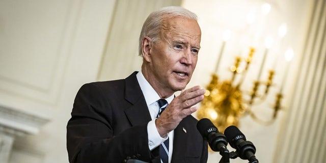 President Biden speaks in the State Dining Room of the White House in Washington, D.C., on Thursday, Sept. 9, 2021. (Samuel Corum/Bloomberg via Getty Images)