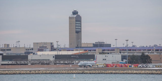 The air traffic control tower at Boston Logan Airport on Wednesday, on March 13, 2019 in Boston, Massachusetts. (Photo by Nicolaus Czarnecki/MediaNews Group/Boston Herald via Getty Images)