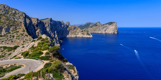 The Punta d'en Tomas bay is seen from Formentor Cape on July 23, 2021 in Mallorca, Spain. (Photo by Laszlo Szirtesi/Getty Images)