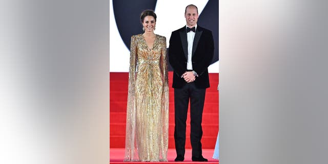 Catherine, Duchess of Cambridge and Prince William, Duke of Cambridge attend the 'No Time To Die' World Premiere at Royal Albert Hall on September 28, 2021 in London, England.