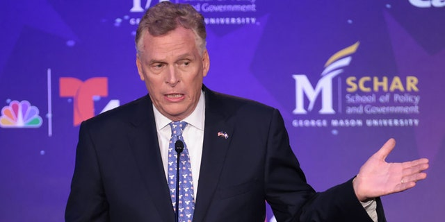 Former Virginia Gov. Terry McAuliffe, D-Va., debates Republican gubernatorial candidate Glenn Youngkin hosted by the Northern Virginia Chamber of Commerce Sept. 28, 2021 in Alexandria, Virginia. (Photo by Win McNamee/Getty Images)