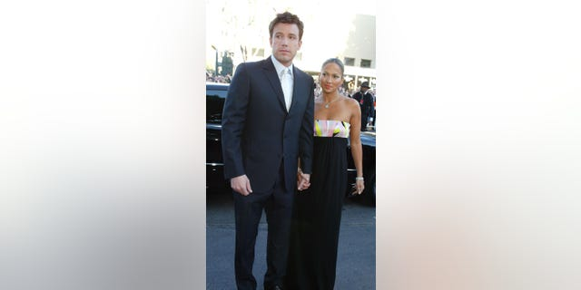 Actor Ben Affleck and his fiancé actress/singer Jennifer Lopez arrive at the premiere of 'Daredevil' at the Village Theatre on February 9, 2003 in Los Angeles, California.
