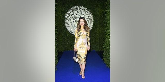 Elizabeth Hurley during the Milan Fashion Week - Spring / Summer 2022 on Sept. 26, 2021 in Milan, Italy.