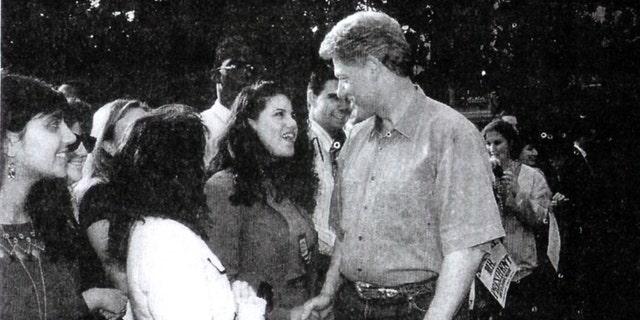 A photograph showing former White House intern Monica Lewinsky meeting President Bill Clinton at a White House function submitted as evidence in documents by the Starr investigation and released by the House Judicary committee on September 21, 1998.