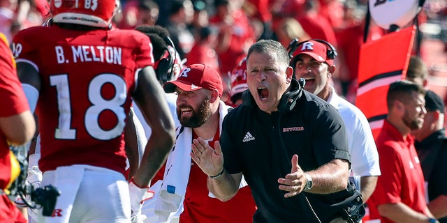 Rutgers head coach Greg Schiano reacts after his team scored a touchdown during the first half of an NCAA college football game against Delaware, Sabato, Sett. 18, 2021, in Piscataway, N.J.