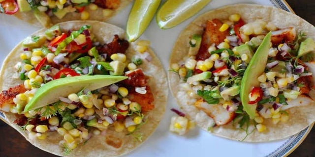 Grill fish tacos with sweet corn salsa.