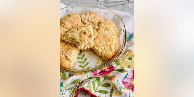 The buttermilk biscuits can be made in a single baking pan. According to Debi Morgan, it's OK for the biscuit dough to touch.