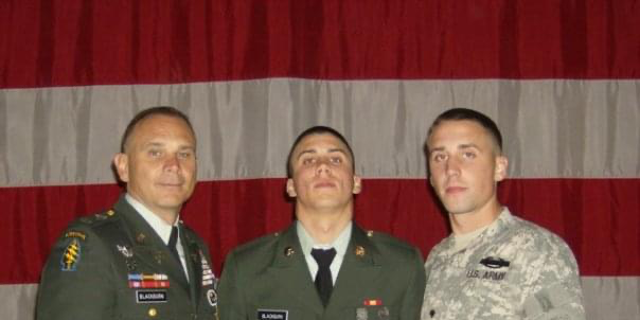 Lt. Col. Perry Blackburn, left, with his sons Victor Blackburn, middle, and Trey Blackburn, right. All three served in Afghanistan.