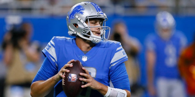In this Aug. 13, 2021, file photo, Detroit Lions quarterback Jared Goff drops back to pass during the first half of the team's preseason NFL football game against the Buffalo Bills in Detroit. The Lions made a lot of changes in the offseason by bringing in a new general manager, coach and quarterback. General manager Brad Holmes and coach Dan Campbell might be able to eventually turn the team around, but it's difficult to envision that happening this season with quarterback Goff and a defense that might not be better than last year's historically bad unit. (AP Photo/Duane Burleson, File)