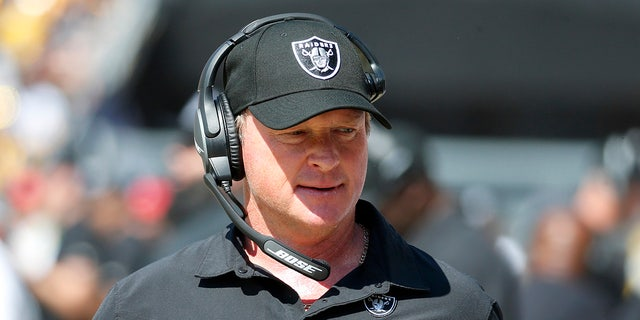 Head coach Jon Gruden of the Las Vegas Raiders looks on in the game against the Pittsburgh Steelers at Heinz Field on September 19, 2021 in Pittsburgh, Pennsylvania.
