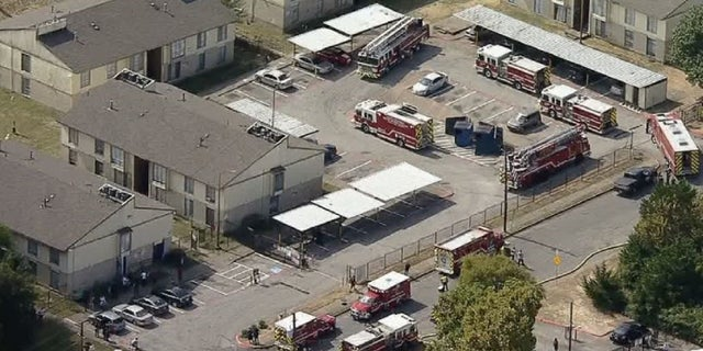 Dallas fire crews respond to an explosion Wednesday.