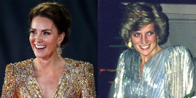 Chiếc váy của Kate Middleton và Công nương Diana có hình dáng, đường viền cổ, màu sắc tương tự nhau và hơn thế nữa.