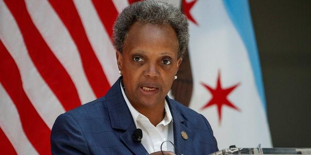 Mayor Lori Lightfoot is speaking in Chicago on July 23, 2020.
