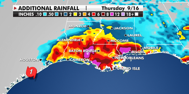 Rainfall around Louisiana