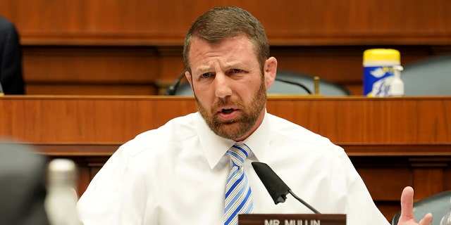 Rep. Markwayne Mullin, R-Okla., asks questions during a House Energy and Commerce Subcommittee on Health hearing to discuss protecting scientific integrity in response to a COVID-19 outbreak on Capitol Hill in Washington, May 14, 2020.