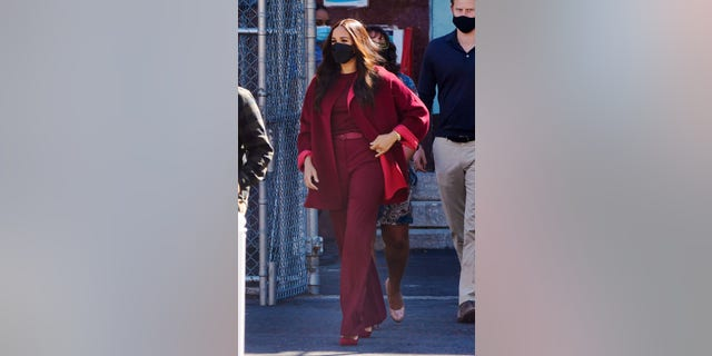 Meghan Markle, Duchess of Sussex and Prince Harry, Duke of Sussex visit P.S. 123 in Harlem on September 24, 2021 in New York City. Markle wore a trouser outfit designed by Loro Piana.