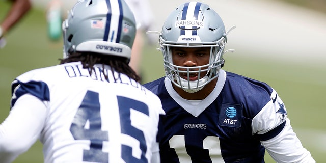 Dallas Cowboys linebacker Micah Parsons (11) goes through drills during voluntary Organized Team Activities at the Star Training Facility Jun 3, 2021, in Frisco, Texas.