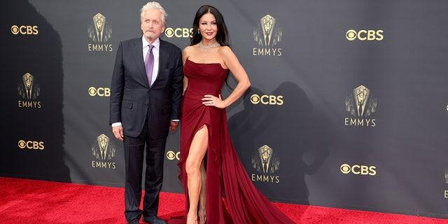 Michael Douglas and Catherine Zeta-Jones attend the 73rd Primetime Emmy Awards.