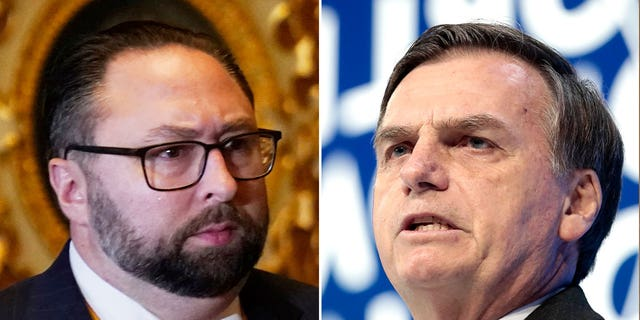 Jason Miller, left, reportedly met with Brazilian president Jair Bolsonaro, right, while in Brazil for a CPAC (Conservative Political Action Conference) that ran from Sept. 3 to 4, along with Eduardo Bolsonaro (a son of the president), and former chancellor Ernesto Araujo.