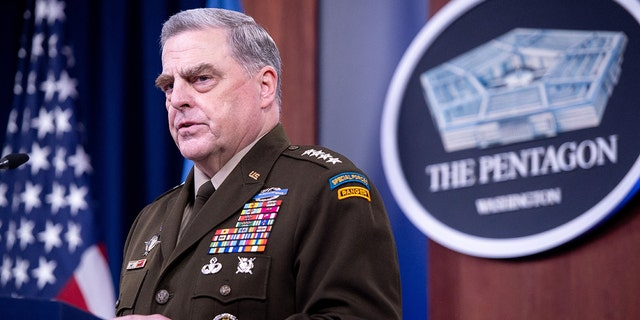 Gen. Mark Milley, chairman of the Joint Chiefs of Staff, holds a press briefing about the U.S. military drawdown in Afghanistan at the Pentagon in Washington, D.C., Sept. 1, 2021. (Photo by SAUL LOEB / AFP) (Photo by SAUL LOEB/AFP via Getty Images)