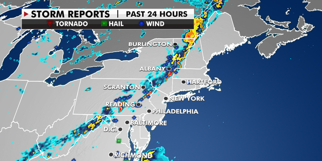 Storm reports in the past 24 hours