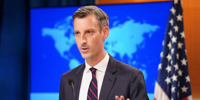"""US State Department spokesman Ned Price holds a press briefing on Afghanistan at the State Department in Washington, DC, August 16, 2021. Price called U.S. talks with the Taliban """"candid and professional"""" in a Sunday statement. (Photo by KEVIN LAMARQUE/POOL/AFP via Getty Images)"""