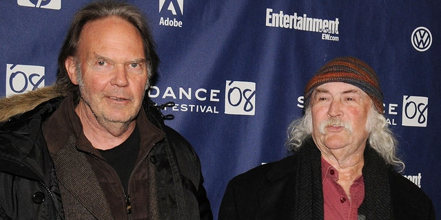 David Crosby, right, called former band member Neil Young the most 'selfish' person he has ever met.  (Photo by Bryan Bedder / Getty Images)