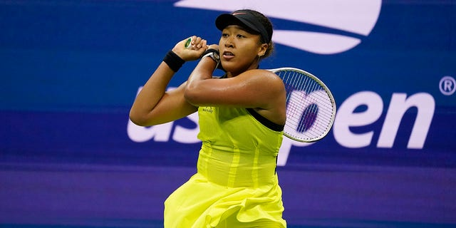 Naomi Osaka, of Japan, returns a shot to Leylah Fernandez, of Canada, during the third round of the U.S. Open tennis championships, Friday, Sept. 3, 2021, in New York City. (Associated Press)