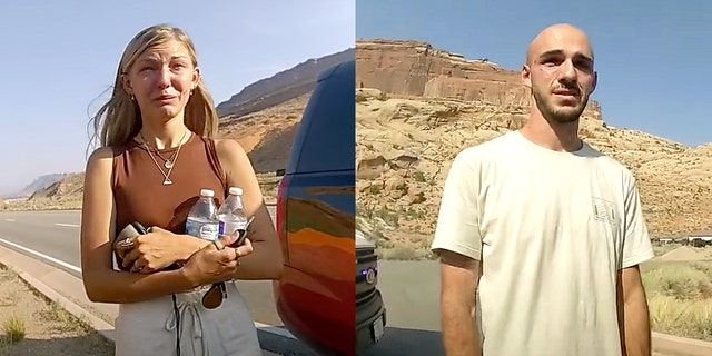 Gabby Petito, left, and Brian Laundrie are seen in bodycam footage released by the Moab City Police Department in Utah.