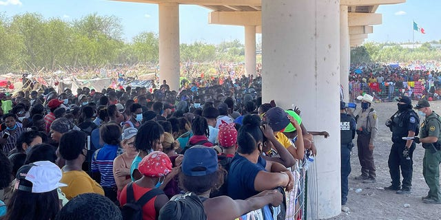 Sept. 18, 2020: Migrants camp under the International Bridge in Del Rio. [Rep. Pfluger.)