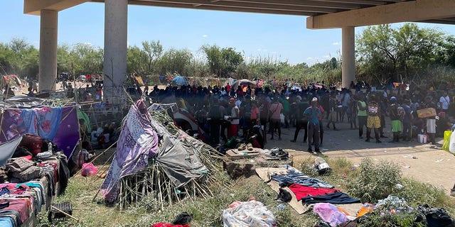 Sept. 18, 2021: Migrants camp under the International Bridge in Del Rio. (Rep. Pfluger.)