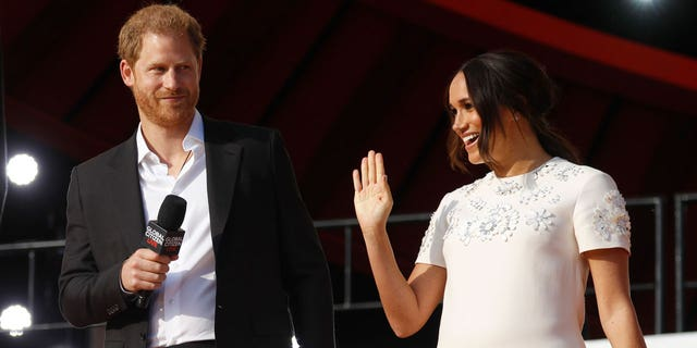 Prince Harry, Duke of Sussex and Meghan, Duchess of Sussex speak onstage during Global Citizen Live in New York on September 25, 2021.