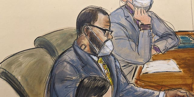 In this courtroom sketch, R. Kelly sits with her defense attorney, Thomas Farinella, and Nicole Blank Baker during the first day of her defense in a sex trafficking case, Monday, September 20, 2021, in Center, New York.