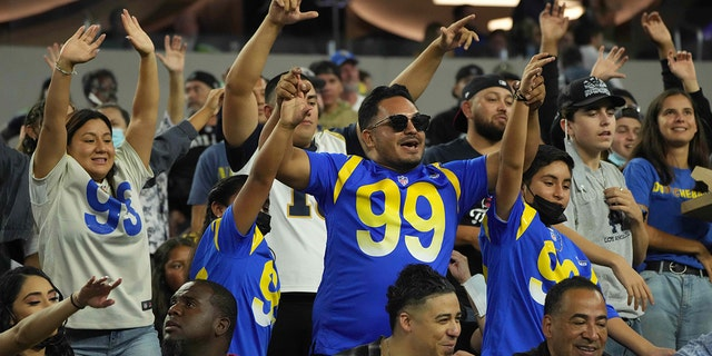 Los Angeles Rams fans cheer during a game against the Las Vegas Raiders at SoFi Stadium Aug 21, 2021, in Inglewood, Calif.