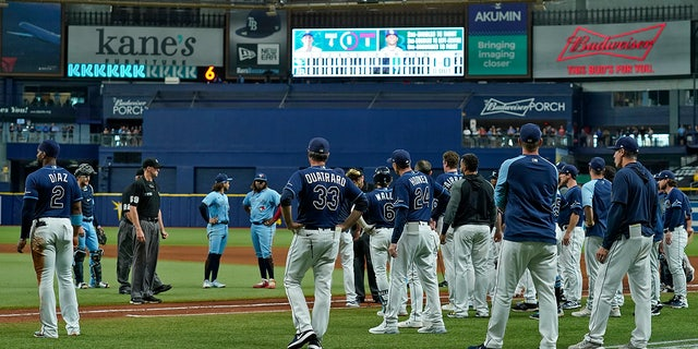 Tampa Bay Rays and Toronto Blue Jays players stand on the field after Blue Jays pitcher Ryan Borucki hit the Rays' Kevin Kiermaier with a pitch during the eighth inning of a baseball game Wednesday, 九月. 22, 2021, in St. Petersburg, 弗拉.