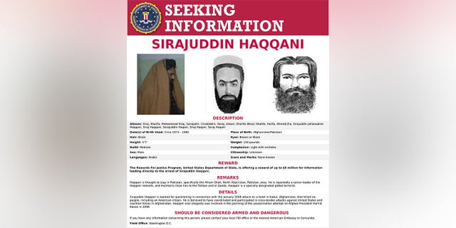 The 'Seeking Information' poster issued by the U.S. Federal Bureau of Investigation for Sirajuddin Haqqani, who is Afghanistan's newly appointed acting interior minister. (FBI/Handout via REUTERS)