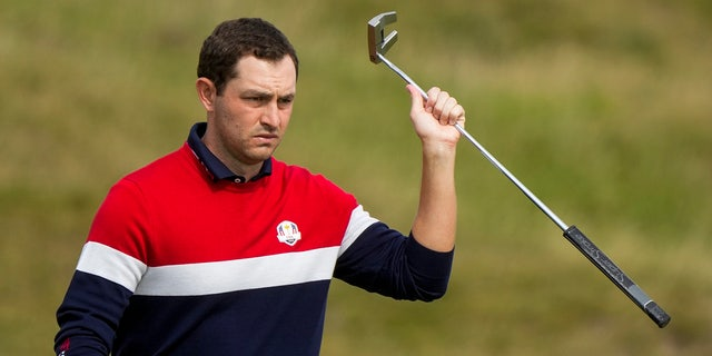 Team USA's Patrick Cantlay walks to the fourth tee during a singles match the Ryder Cup at the Whistling Straits Golf Course Sunday, Sept. 26, 2021, in Sheboygan, Wis.