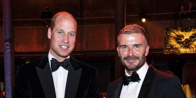 William and Beckham posed for a photo while chatting at the event.