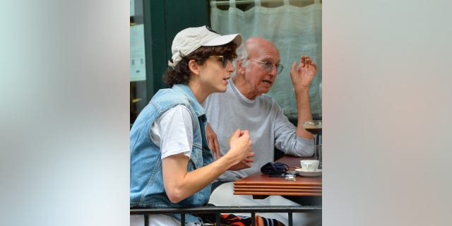 'Curb Your Enthusiasm' actor and comedian Larry David was spotted with actor Timothée Chalamet during a lunch outing at Sant Ambroeus in Manhattan Monday.
