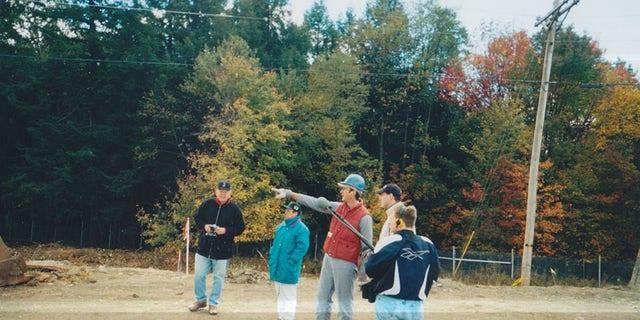 Tim Lambert and his family visit the crash site in 2001. (Source: Tim Lambert)