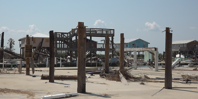 Just the stilts of a home remain after Hurricane Ida made landfall 10 miles from Grand Isle.
