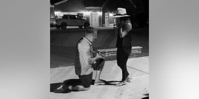 On the evening of Sept. 4, Sean Matthews got down on one knee and proposed to Kellie Stanley right outside their home in Fuquay-Varina, N.C. Friends and family had gathered in the couple's driveway that night to show their support, and Matthews felt moved to propose.