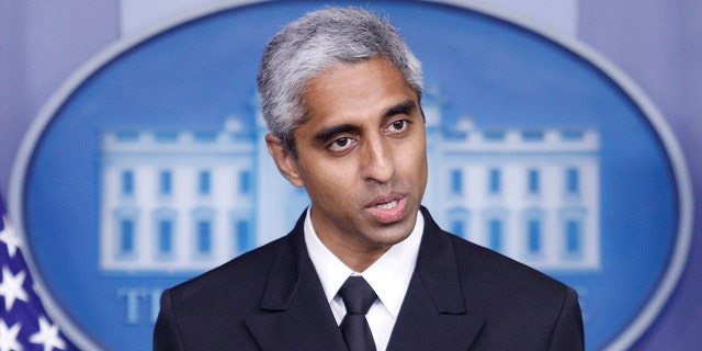 Surgeon General Vivek Murthy delivers remarks during a news conference with White House Press Secretary Jen Psaki at the White House in Washington, July15, 2021. REUTERS/Tom Brenner