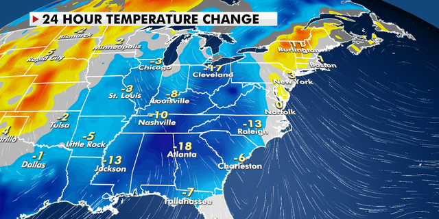 24-hour temperature change for the eastern U.S.
