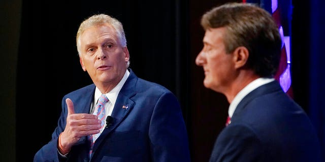 Virginia Democratic gubernatorial candidate former Governor Terry McAuliffe debates Republican nominee and businessman Glenn Youngkin at the Appalachian School of Law in Grundy, Va. on Sept. 16, 2021 (AP Photo/Steve Helber, File)