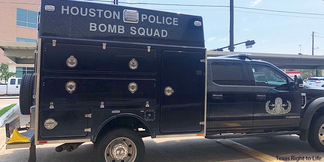 Houston Police bomb squad outside Texas Right to Life headquarters. Photo credit: Texas Right to Life