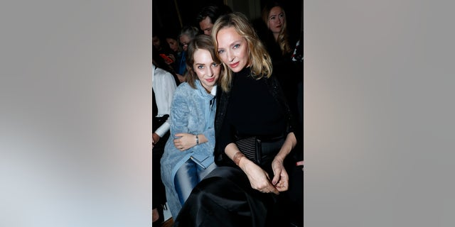 Uma Thurman and her daughter Maya Hawke attend the Giorgio Armani Prive Haute Couture Spring Summer show as part of Paris Fashion Week on January 22, 2019 in Paris, France.