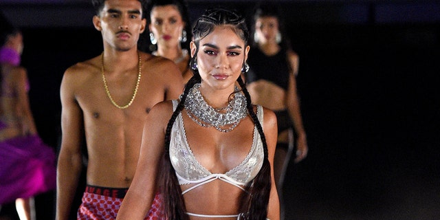 In this image released on Sept. 23, Chavez Barrientes and Vanessa Hudgens are seen during Rihanna's Savage X Fenty Show Vol. 3, presented by Amazon Prime Video, at The Westin Bonaventure Hotel & Suites in Los Angeles, California and broadcast on Sept. 24, 2021.