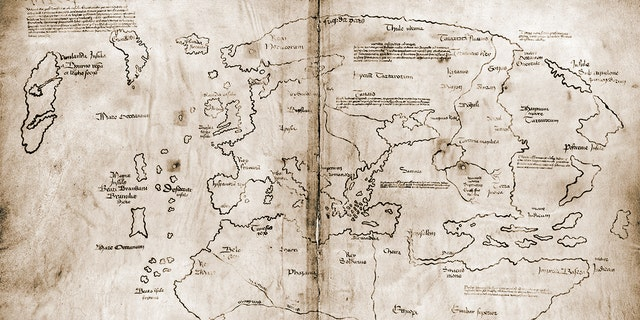The Vinland Map, possibly the first map showing the New World, a 15th cenury 'mappa mundi' that some consider to be a fake. Ink on vellum. (Photo by VCG Wilson/Corbis via Getty Images)
