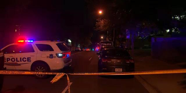 The crime scene near where a special police officer was fatally shot in Washington, D.C. 화요일. (WTTG)